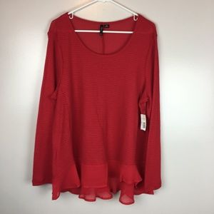 New Directions Red Long Sleeve Top Ruffles Mesh 2X